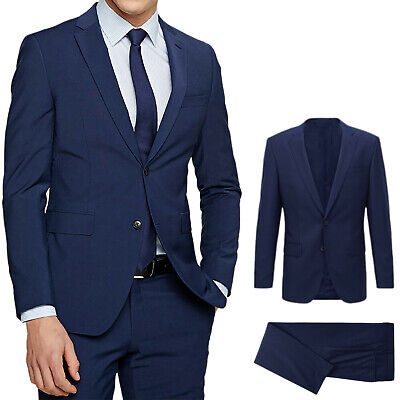 Vestiti Eleganti Uomo Blu.The0a04 Abito Completo Uomo Diamond In Lino Blu Scuro Estivo Slim
