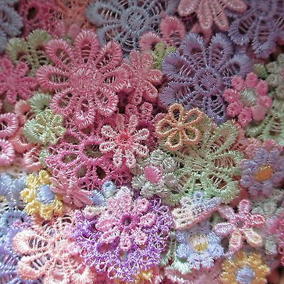 Assorted PASTEL 10-25mm Guipure Lace Daisy Motifs Sew On Flower Appliques • 2.85£
