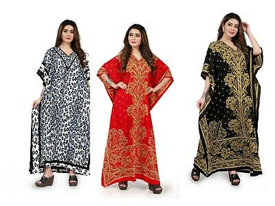 £8.99 • Buy Free Size Kaftan Tunic Holiday Dress Beach Cover Up Fits 14,16,18,20,22,24