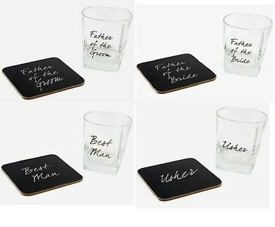 £7.99 • Buy Boxed Whiskey Tumbler Glass & Coaster Wedding Thank You Gift Choice Of Designs