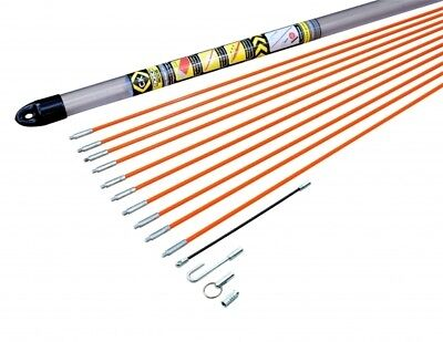 CK Tools T5410 Electrical Cable Access Rod Set 10m Hook Eye Threading Adapter • 38.85£