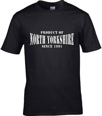 Product Of North Yorkshire Mens T-Shirt Place Name Birthday Gift Year Of Choice  • 11.99£