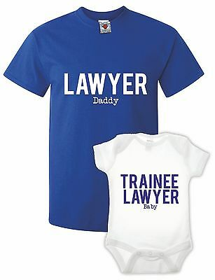 Men's Lawyer T-Shirt & Babygrow Double Pack Gift Present Xmas Cute Baby Funny • 14.99£