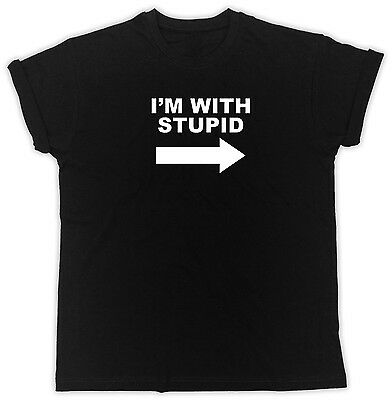 I'm With Stupid Ideal Gift Birthday Present Cotton Black Men Funny T Shirt • 9.99£