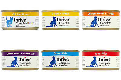 Pet Project Thrive Complete Cat Food 100% Real Meat Fish 12x 75g Tin Wet Natural • 14.75£