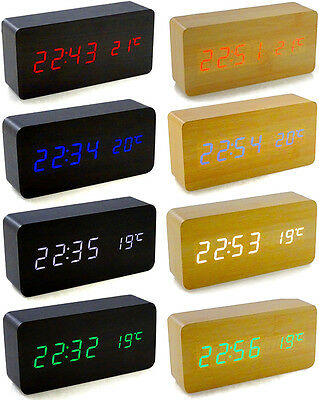 Wooden LED Digital Alarm Clock Voice Control Calendar Thermometer USB/AAA UK • 9.99£