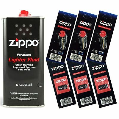 $11.95 • Buy Zippo Lighter Fluid Fuel 12oz & 6 Value Pack (18 Flints + 3 Wick) Gift Set Combo