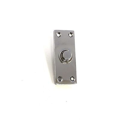 Solid Polished Chrome Victorian Door Bell Chime Push Button Press - 30mm X 80mm • 7.99£