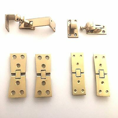 Solid Polished Brass Counterflap Bartop Worktop Shop Counter Catch - Hinges • 8.99£