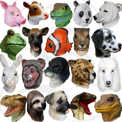 Latex Realistic Animal Head Cosplay Masquerade Fancy Dress Props Carnival Masks • 14.65£
