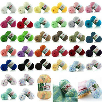 AU1.91 • Buy Sale 1 Skein X 50g Super Soft Bamboo Yarn Cotton Baby Hand Knitting Wool Crochet