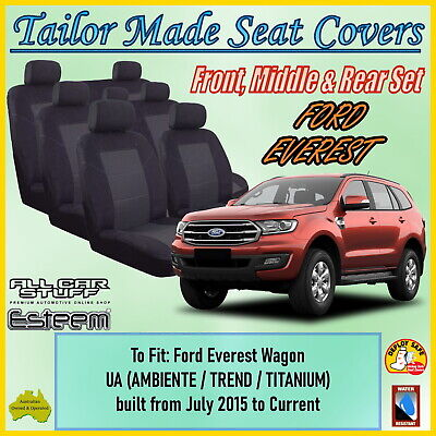 AU198 • Buy Tailor Made Black Seat Covers For Ford Everest UA Wagon From 07/2015 To Current