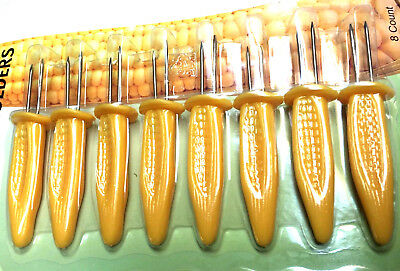 £2.79 • Buy 8 X STAINLESS STEEL CORN ON THE COB HOLDERS BBQ PRONGS SKEWERS FORKS PARTY UK SE