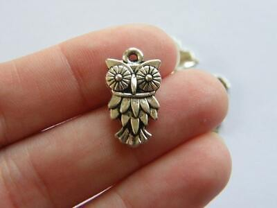 8 Owl Charms Antique Silver Tone B296 • 1.95£