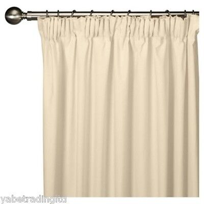 £22.99 • Buy Ivory Faux Silk Lined Pencil Pleat Curtains 44  X 90  Lounge Drapes Pair New
