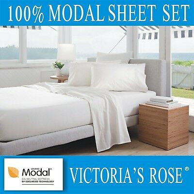 A+ Quality 4pc Bedding Bed Sheet Set V-Rose 100% Lenzing Modal Queen White Color • 119.99$