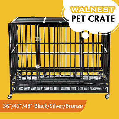 $209.99 • Buy 37 /42 /48  Heavy Duty Large  Dog Crate Kennel Pet Cage House W/ Tray Wheels