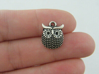 10 Owl Charms Antique Silver Tone B256 • 1.95£
