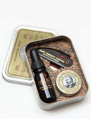 Captain Fawcett Ricki Hall Booze & Baccy Beard Oil Moustache Wax Survival Kit • 35£