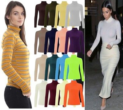 Womens Ribbed Roll Neck Jumper Top Ladies Rib Polo Neck Long Sleeve Top 8-28 • 9.95£