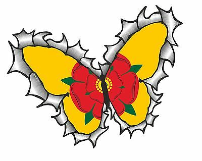BUTTERFLY Ripped Torn Metal Design & Lancashire Rose County Flag Car Sticker • 2.49£