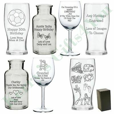 Engraved Personalised Glass Gift Birthday Gifts Presents Ideas For Her Him • 10£
