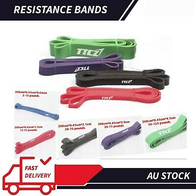 AU35.91 • Buy Set Of 5 Heavy Duty RESISTANCE Strength TRAINING BAND Gym Yoga Fitness Workout