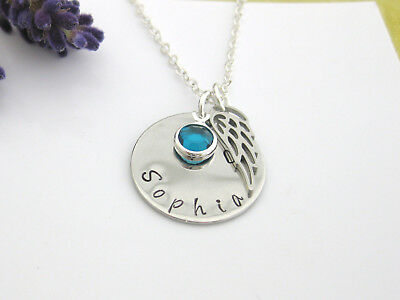 Personalised Angel Wing Hand Stamped Name Pendant Birthstone Necklace Gift • 8.75£