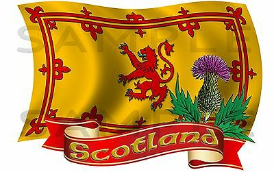 Large Scotland Rampant Lion Thistle Flag Sticker Truck Van Car Motorhome Caravan • 24.99£