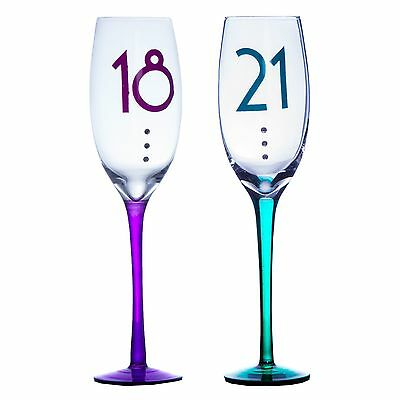 Clear Birthday Champagne Flute - Coloured Stem & Diamantes 18th / 21st • 8.99£