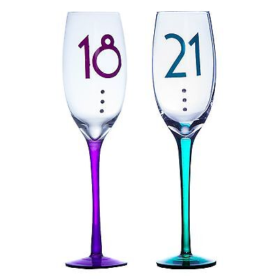Clear Birthday Champagne Flute - Coloured Stem & Diamantes 18th / 21st • 9.29£