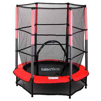 GALACTICA Children's Mini Trampoline With Safety Net – 4.5FT Kids Rebounder Red • 58.99£