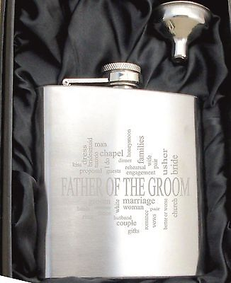 £6.99 • Buy Personalised HF506 Engraved Father Of The Groom 6oz Hip Flask With Gift Box