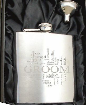 £6.99 • Buy Personalised HF502 Engraved Groom 6oz Hip Flask With Funnel And Gift Box