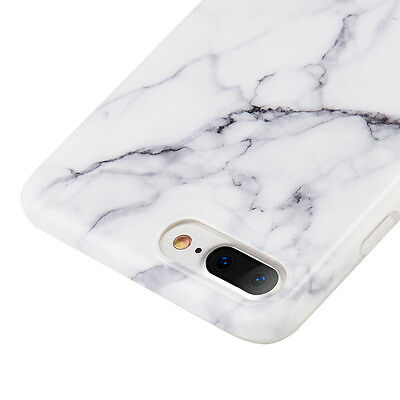 AU11.83 • Buy For IPhone 7+ / 8+ PLUS - Hard TPU Gummy Rubber Case Cover White Marble Pattern