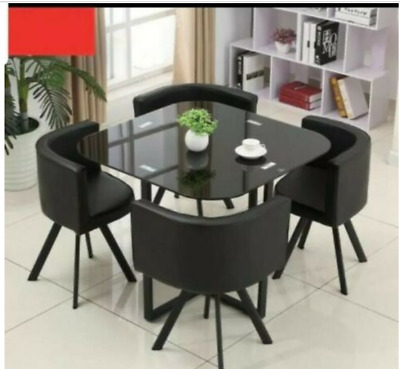 AU424.95 • Buy NEW MODERN Space Saver Black  Square Glass Dining Table & 4 Chairs Set