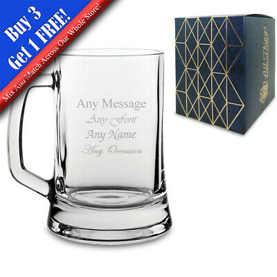 Personalised Engraved Beer Glass Tankard - FREE Gift Engraving NEW Any Occasion • 8.95£