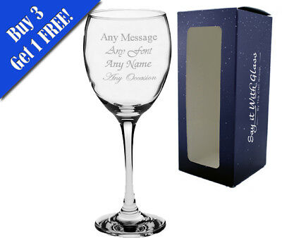 Personalised Engraved Wine Glass With Gift Box - Any Message Engraved!! • 7.95£