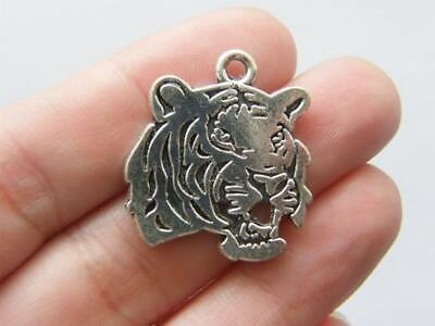 4 Tiger Charms Antique Silver Tone A150 • 1.95£