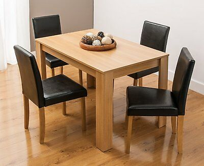 Modern Wooden Dining Table, 4 PU Faux Leather Chairs & Bench Options Furniture  • 149.99£