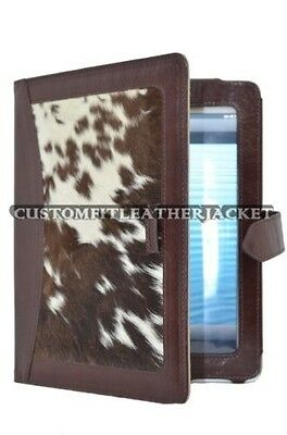 $18.88 • Buy IPAD 2 3 & 4 BROWN & COW SKIN FUR Luxury Real Genuine Leather Cover Case Stand