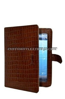 $35.41 • Buy New IPad 2 3 & 4 Tan Croc Print Luxury Real Genuine Leather Cover Case Stand