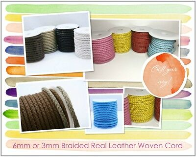£4.39 • Buy 6mm Or 3mm Braided Quality Real Leather Plaited Woven Braided Cord