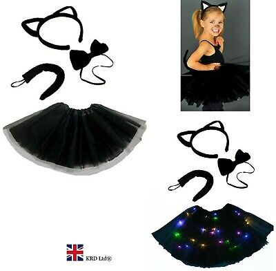 Kids WITCHES BLACK CAT Fancy Dress Halloween Costume LED TUTU Accessory Set UK • 7.25£