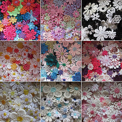 30/50/100 Packs Guipure Lace Daisy Motifs Sew On Flower Appliques • 3.10£