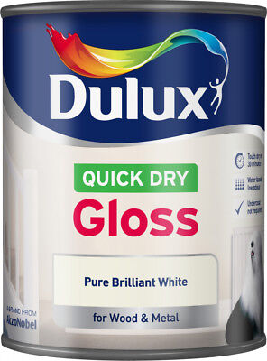 Dulux Quick Dry Gloss Pure Brilliant White Paint 750ml - Wood & Metal Low Odour • 12.50£