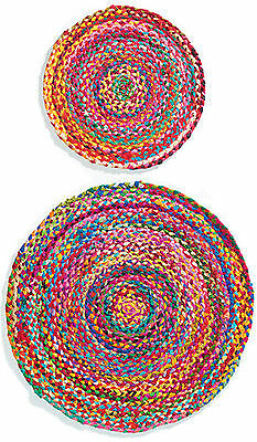 £14.95 • Buy Round Chindi Braided Cotton Multi Colour Shabby Rag Rug Fair Trade Free Delivery