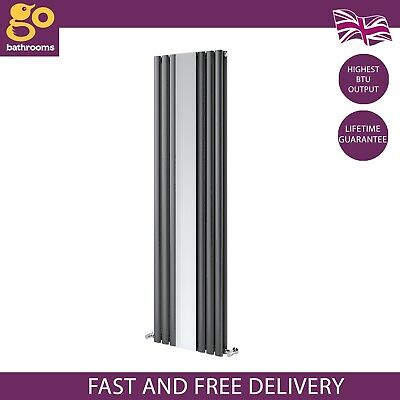 £199.99 • Buy Gala Double Vertical Radiator Mirror Oval Panel Tall Column Anthracite 180cm