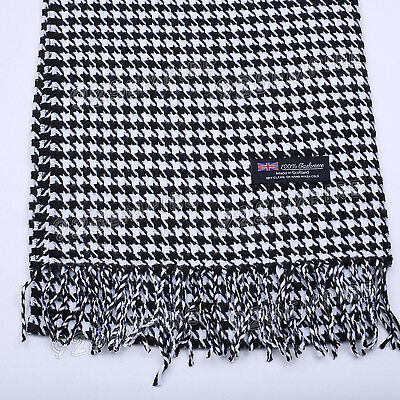 $6.99 • Buy Women's Men's 100% CASHMERE Black/White Houndstooth Scarf MADE IN SCOTLAND