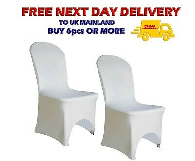 £3.99 • Buy WHITE Wedding CHAIR COVERS Arched Front Spandex Party Banquet Decor 50/100